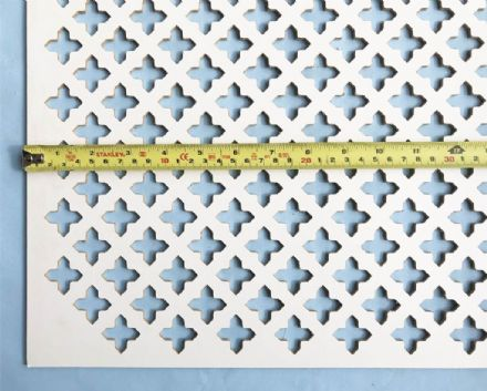 Oregon (large pointed cross) white faced perforated MDF screening panel